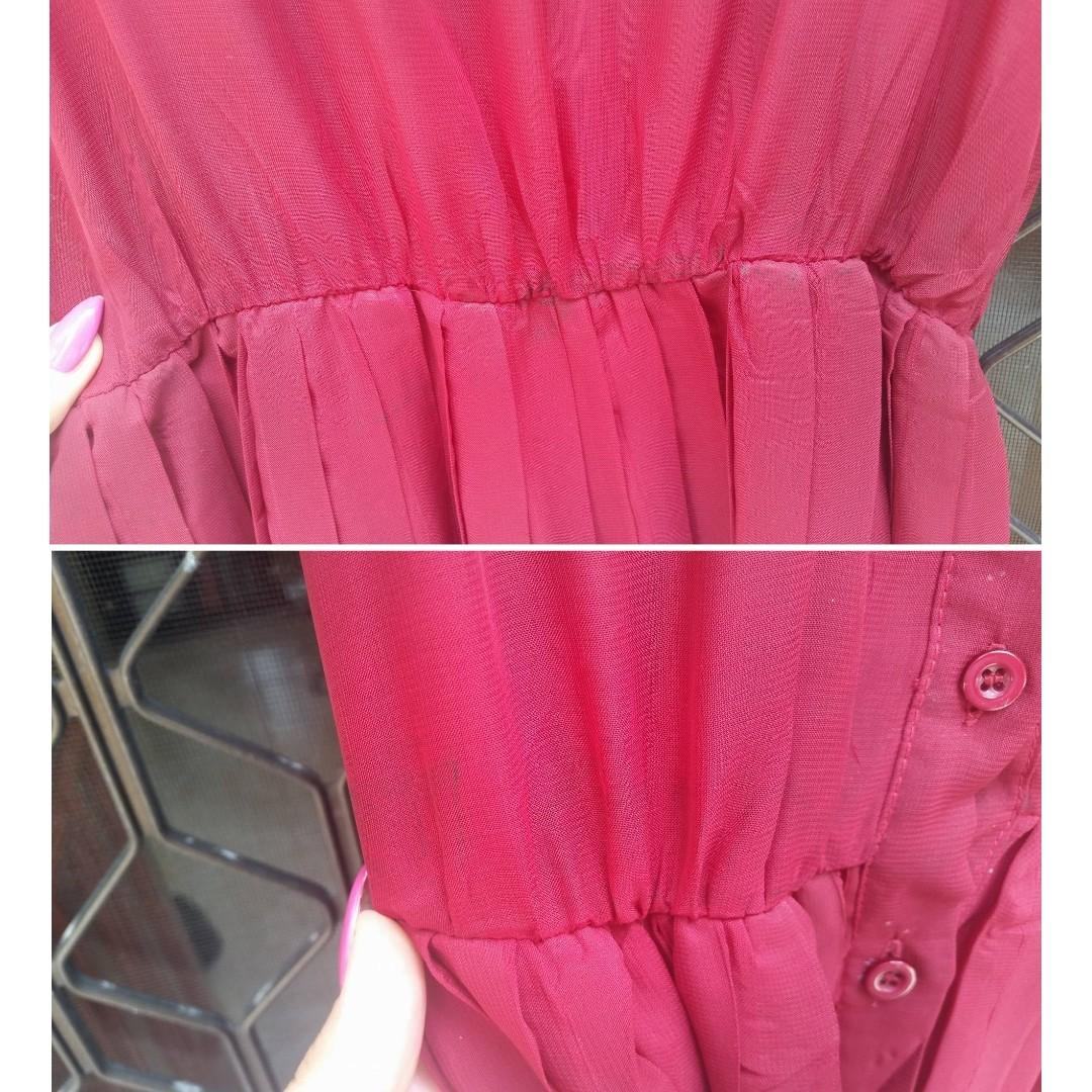 SHOWPO Sheer Dress Maroon Red Chiffon Maxi Pleated Skirt Split Princess Polly Showpo Beginning Boutique Sportsgirl Glassons Dotti