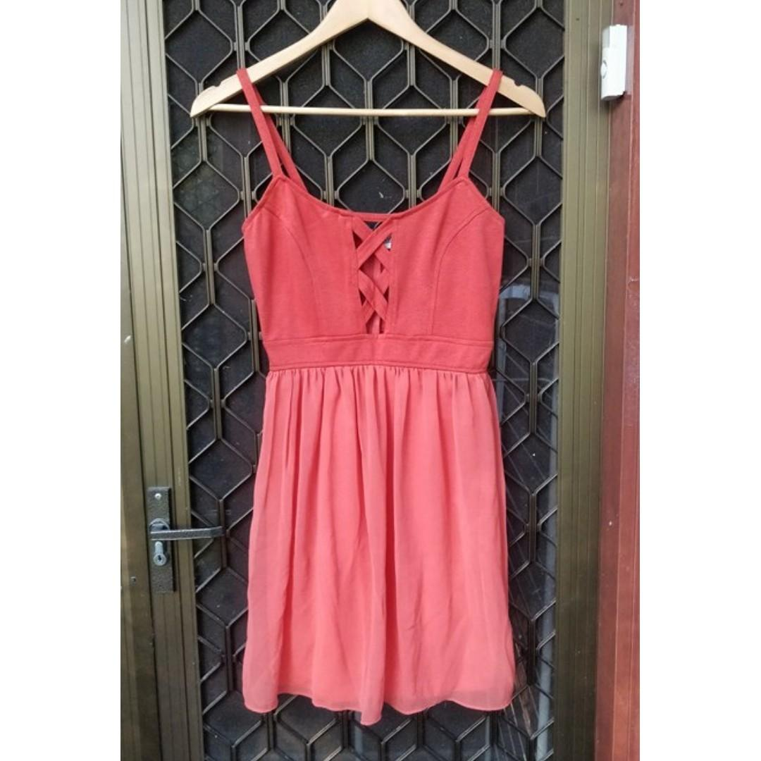 STELLY Orange Cut Out Mini Dress Fit And Flare Chiffon Criss Cross Detail Showpo Beginning Boutique Festival Hippie