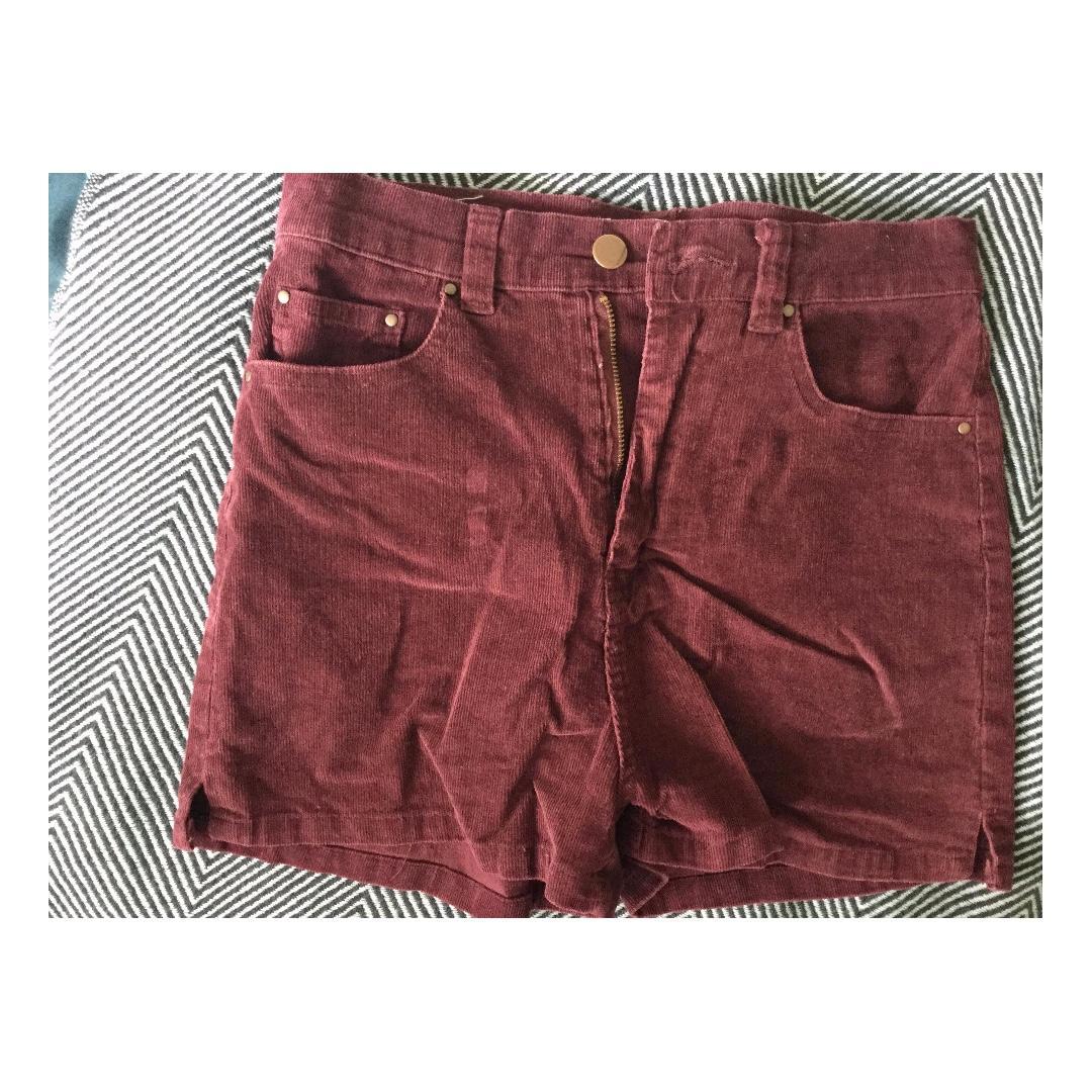 SUPRE Burgundy Corduroy High-Waisted Shorts