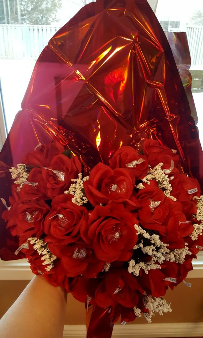 Valentine Heart shaped rosses bouquet with chocolate kisses