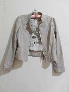 Cream Leather Jacket