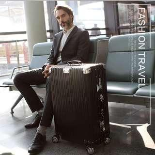 🚚 100% Full Aluminum Shell Luggage Case ,leather Handle Suitcase,rivet Reinforced Travel Box,classic Groove Carry-Ons