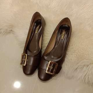 [PRICE REDUCED] Sembonia Buckle Brown Court Shoes