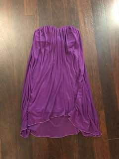 Strapless purple flowy dress