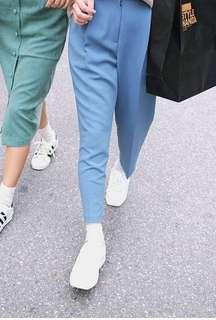 Powder Blue Highwaist Tapered Trousers for Women