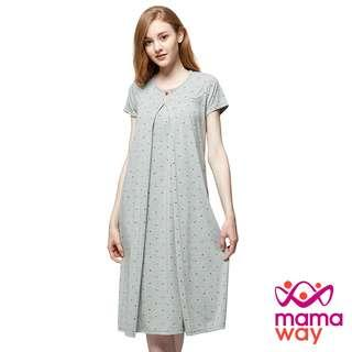 🚚 媽媽餵 mamaway 點點米奇頭孕哺居家洋裝 月子服 春夏哺乳睡裙 春夏孕婦睡裙