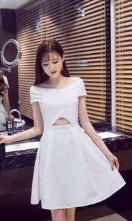🚚 PO : Sizes Available From S To L. Super Sweet And Sexy Korean Style Off Shoulder Front Cut Out/Tummy Cut Out/Stomach Cut Out Off Shoulder Skater/Flare/A Line Dress
