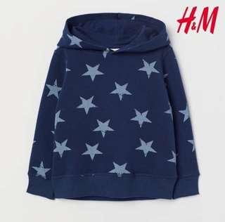 Sweater Hoodie H&M Blue Stars size 2-4thn