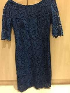 Blue lace mini dress/ long top