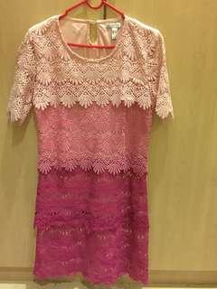 Pink Lace mini dress/ long top