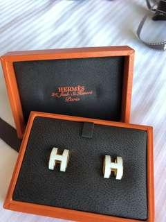 Brand New Hermes PoP H Earrings white x rose gold