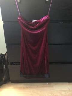 burgundy velvet strapless dress with lace