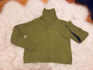 Cropped chunky turtleneck