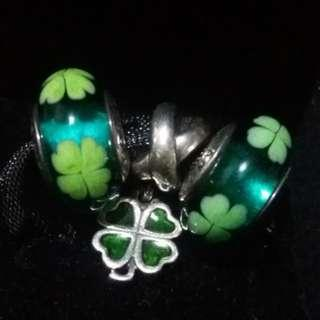 Original Pandora Murano Lucky Green clover and pendant charms