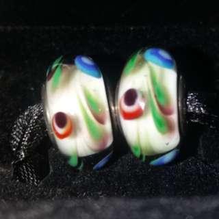 Original Pandora forklore murano pair charms