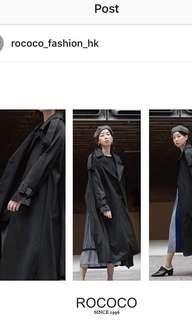 Rococo 黑色 乾濕褸 背紗裙款外套