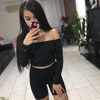 Black basic off the shoulder top
