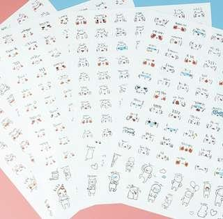 🚚 cute expressions transparent sticker sheets