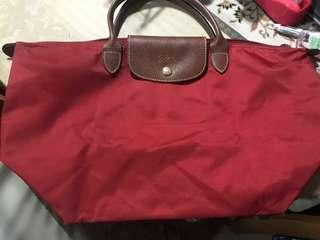 Authentic Longchamp Le Pliage medium short handed red