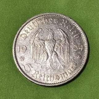 1934-A Germany 5 Mark Silver Coin