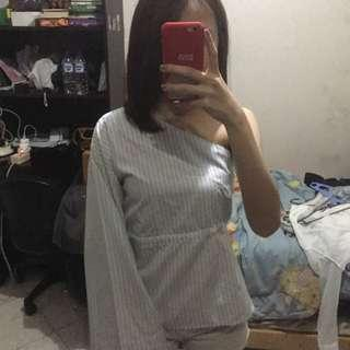 Oudre blue stripes one shoulder top