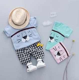 🚚 🌟PM for price🌟 🍀Baby Boy Lion Design Short Sleeves Top+Plaid Shorts 2pcs Set🍀