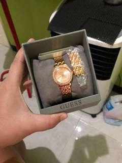 Sale jam guess ori like new rose gold lengkap