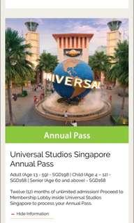 Universal Studios Singapore Annual pass for adult