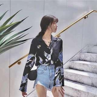 🚚 (preorder) crane long sleeved buttoned down ulzzang blouse