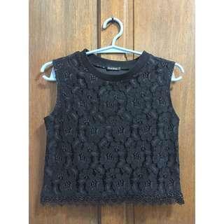 Maldita Black Lace Sleeveless Crop Top