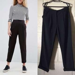 Black Highwaist Tapered Trousers for Women