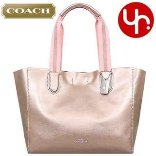 5a83e1190b40 NEW Coach F59388 Metallic Pebbled Leather Large Derby Tote Handbag Bag  (Available in Rose Gold and Cherry Red)