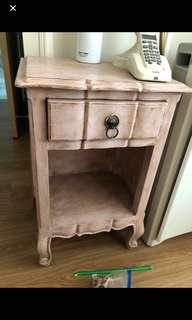 Bedside table distressed custom European Victorian man design furniture