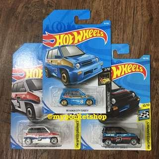 🚚 3x Hot Wheels '85 HONDA CITY TURBO II