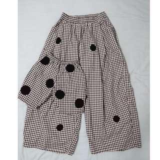 波點格紋 親子褲 寬褲