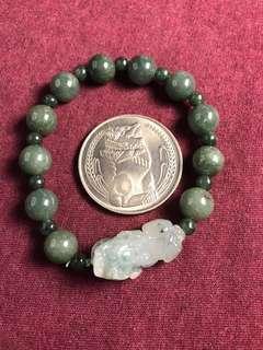 🚚 Natural Myanmar Jadeite 天然缅甸翡翠A货 圆珠貔貅手串