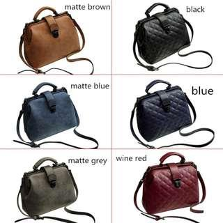 🚚 Woman Handbags Doctor Bags PU Leather Vintage Shoulder Bag