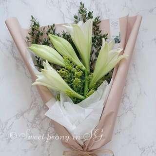 Elegant white lily fresh flower bouquet by Korean florist