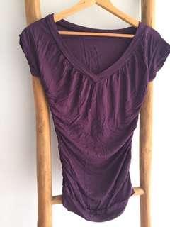 Maternity Tee V-neck T-shirt Purple