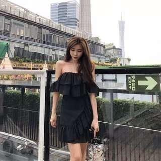 🚚 Plain / basic off shoulder paddle layers Flared Dress