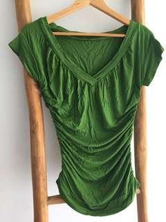 Maternity T-shirt V-neck Tee green New