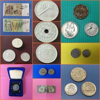 Rest of World; Australia, Fiji, South Africa, England, Denmark, Netherlands, Germany, Canada, USA currency note & coin. Detail price and description in respective listings