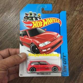 🚚 Hot Wheels 1990 HONDA CIVIC EF (VTEC Red)