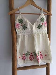 Floral Embroidered Babydoll Singlet Top