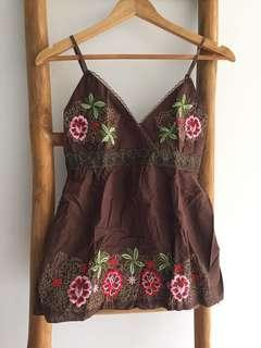 Floral Embroidery Babydoll Singlet Top Brown