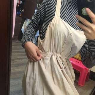 🚚 杏色 棉麻 連身裙