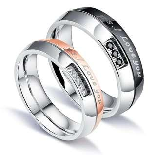 """🚚 [SALES]👫BLACK & ROSE GOLD ENGRAVED ELEGANT """"P.S. I LOVE YOU"""" PAVED CUBIC ZIRCONIA STAINLESS STEEL ENGAGEMENT WEDDING BAND COUPLE RING ANNIVERSARY GIFT👫"""