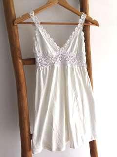 Crochet Lace Babydoll Singlet Cream White