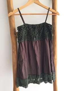 Crochet Lace Babydoll Top Green/ Chocolate