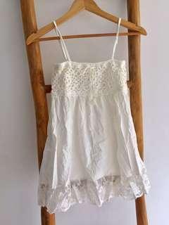 Crochet Lace Singlet Babydoll Top Cream White